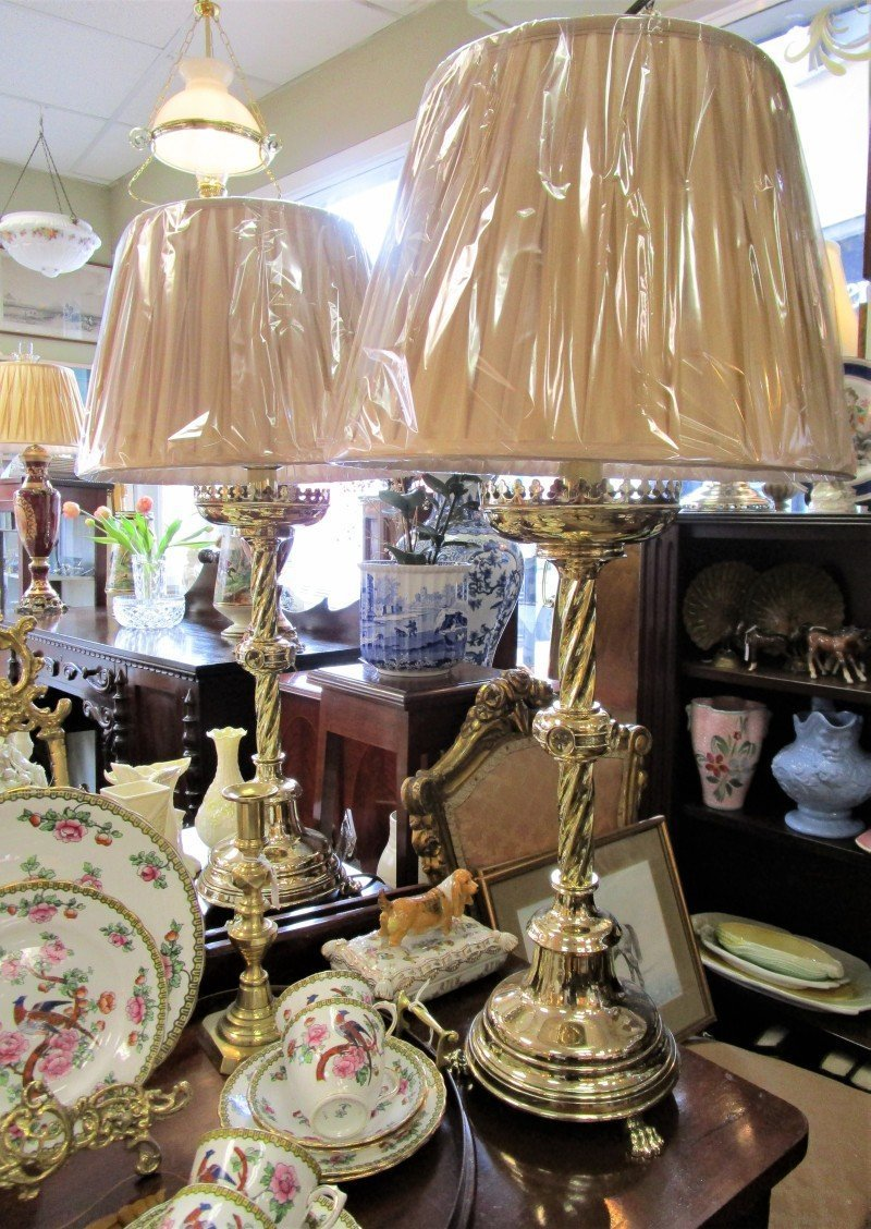Pair of gothic style brass table lamps rk1693gxr the antique shop pair of gothic style brass table lamps rk1693gxr mozeypictures Gallery