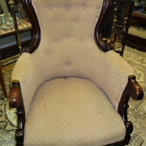 A Victorian Mahogany & Upholstered armchair