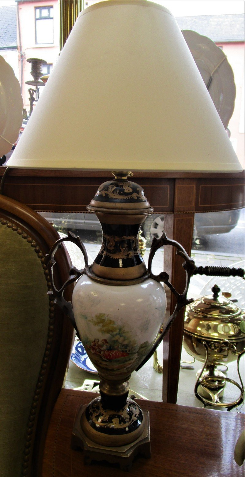Pair of navy porcelain gilt table lamps the antique shop pair of navy porcelain gilt table lamps mozeypictures Gallery