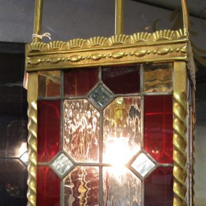 19th Century Brass & Leaded Glass Lantern EB2582OLX