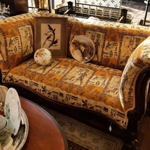 Mahogany and Egyptian revival upholstered Couch LP3303GIX1