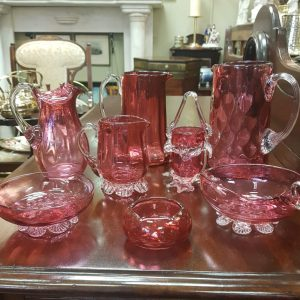 Selection of cranberry glass