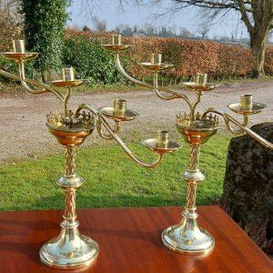 Pair of 19th Century Gothic Brass Candelabra