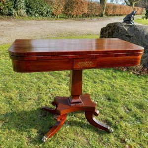 19th Century Mahogany & Brass Inlaid Games Table